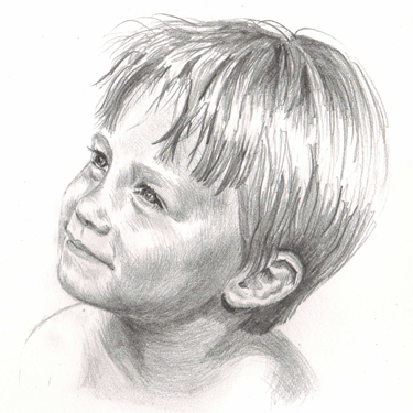 Pencil drawing of small boy